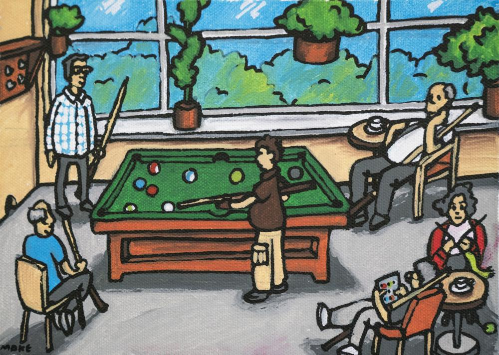 Partizaning, painting of pool playing at Saunabaari by Anton Polskiy