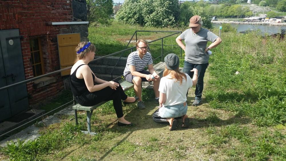 YKON team planning at Harakka island