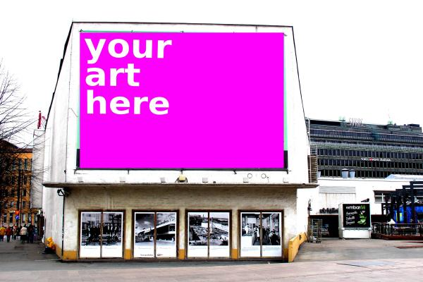 "Artvertiser Helsinki - ""Your art here"" on the Bio Rex facade"